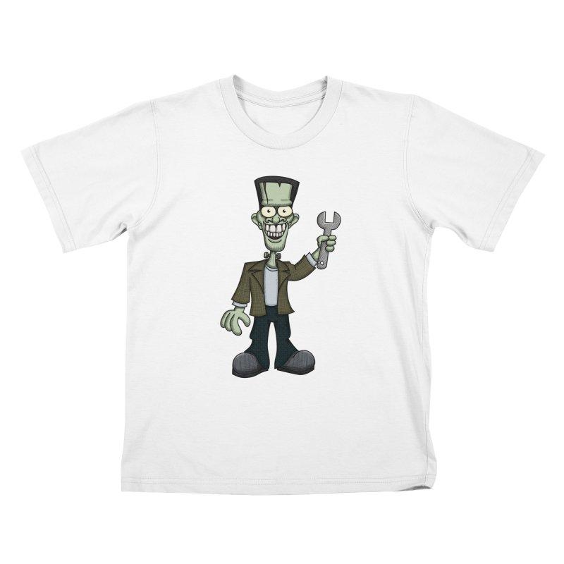 Frankenstein with a Wrench Kids T-shirt by wislander's Artist Shop