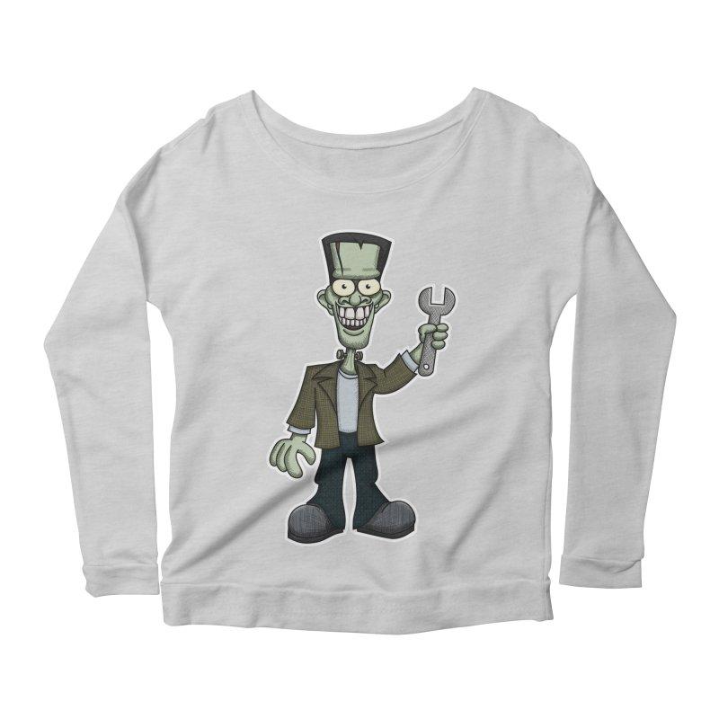 Frankenstein with a Wrench Women's Scoop Neck Longsleeve T-Shirt by wislander's Artist Shop