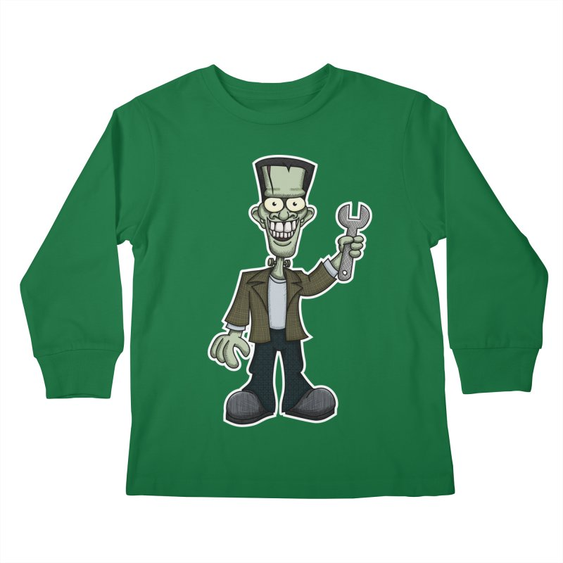 Frankenstein with a Wrench Kids Longsleeve T-Shirt by wislander's Artist Shop