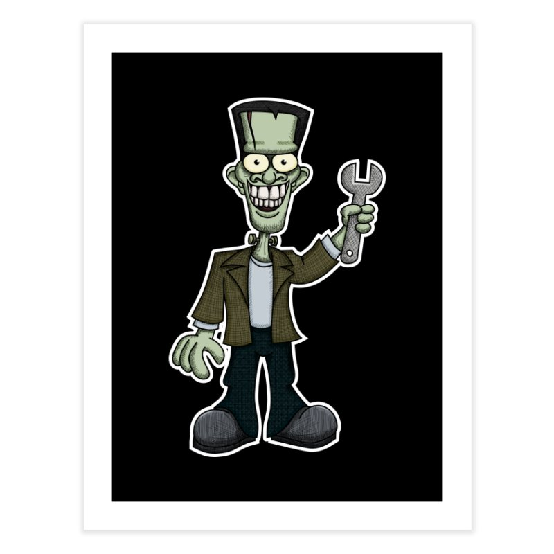 Frankenstein with a Wrench Home Fine Art Print by wislander's Artist Shop