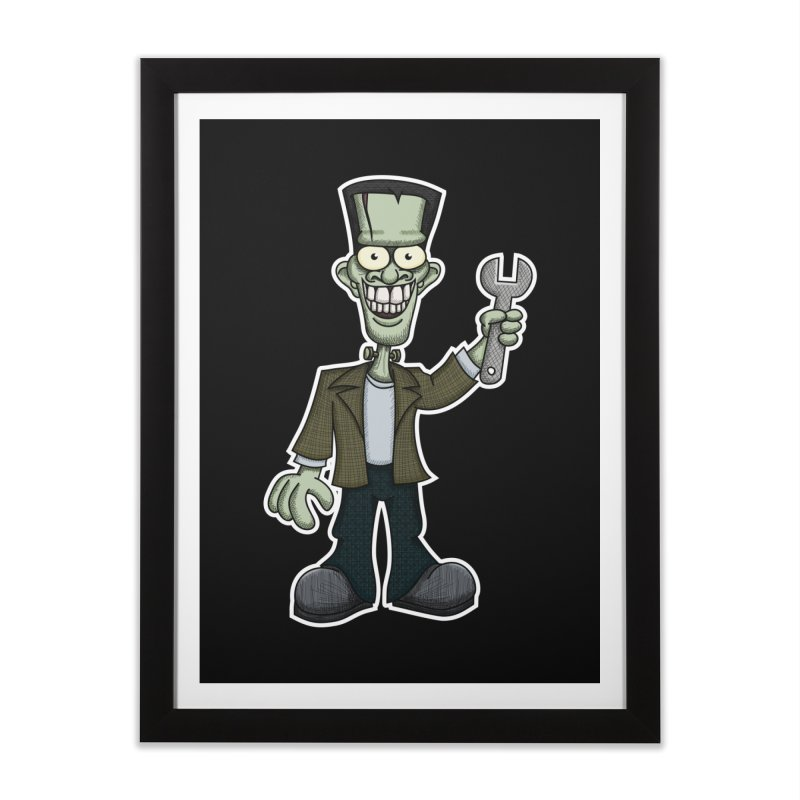 Frankenstein with a Wrench Home Framed Fine Art Print by wislander's Artist Shop