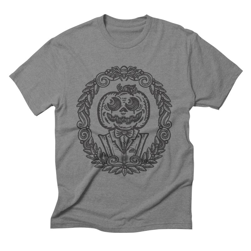 Pumpkin Gentleman Portrait Men's T-Shirt by Witch House Design