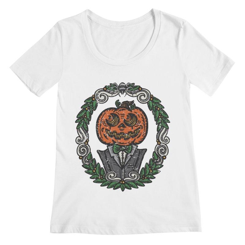 Pumpkin Gentleman Portrait   Full Color Women's Regular Scoop Neck by Witch House Design