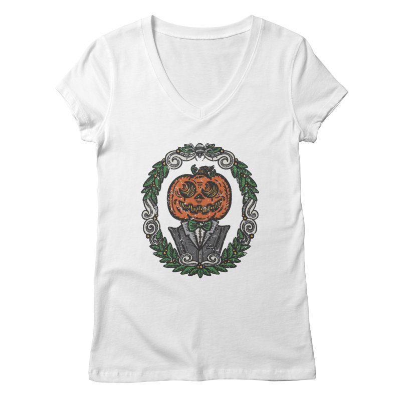 Pumpkin Gentleman Portrait   Full Color Women's V-Neck by Witch House Design