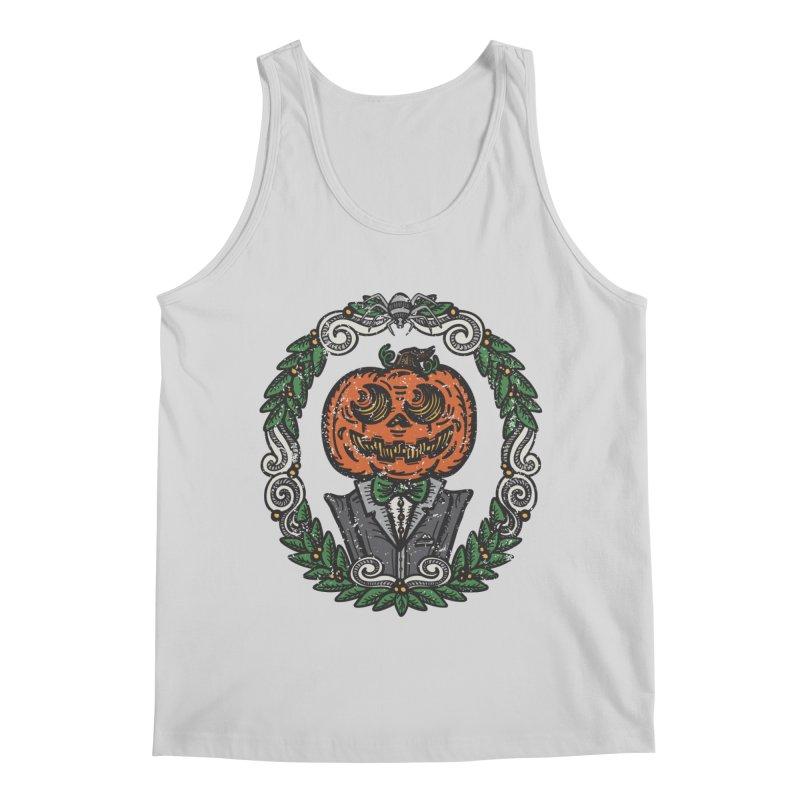 Pumpkin Gentleman Portrait | Full Color Men's Regular Tank by Witch House Design
