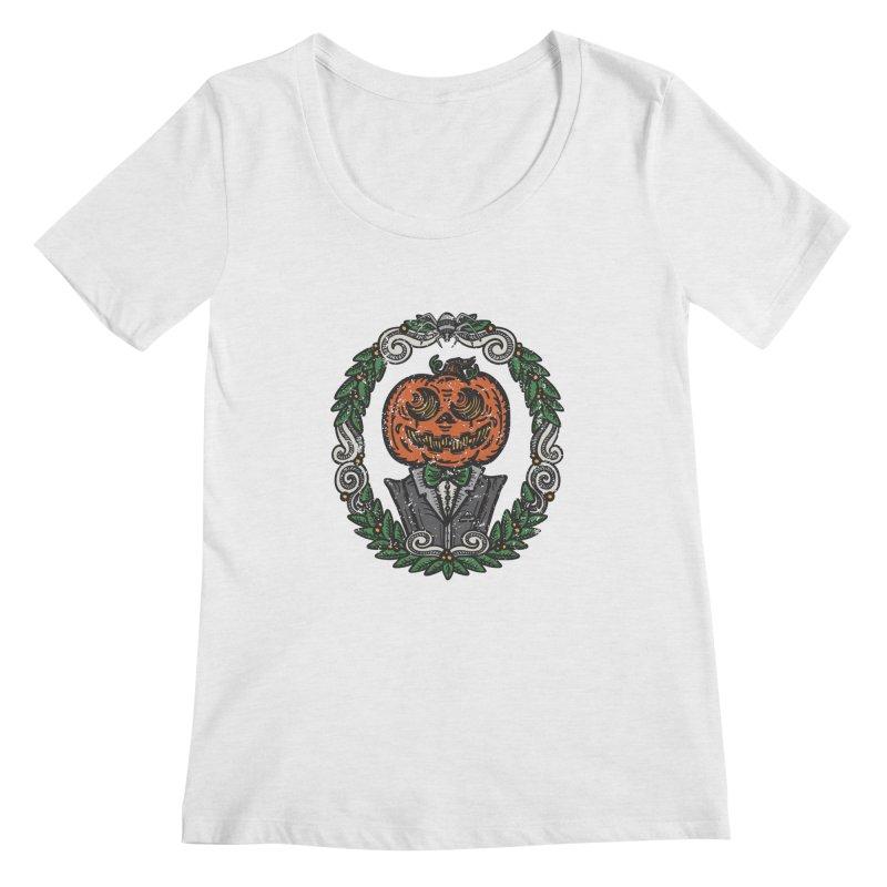 Pumpkin Gentleman Portrait | Full Color Women's Regular Scoop Neck by Witch House Design