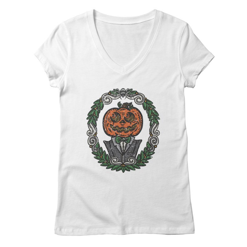 Pumpkin Gentleman Portrait | Full Color Women's V-Neck by Witch House Design