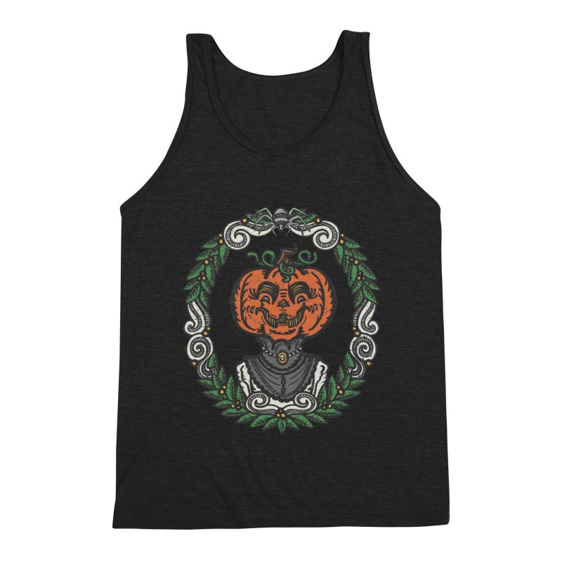 Pumpkin Lady Portrait | Full Color Men's Triblend Tank by Witch House Design