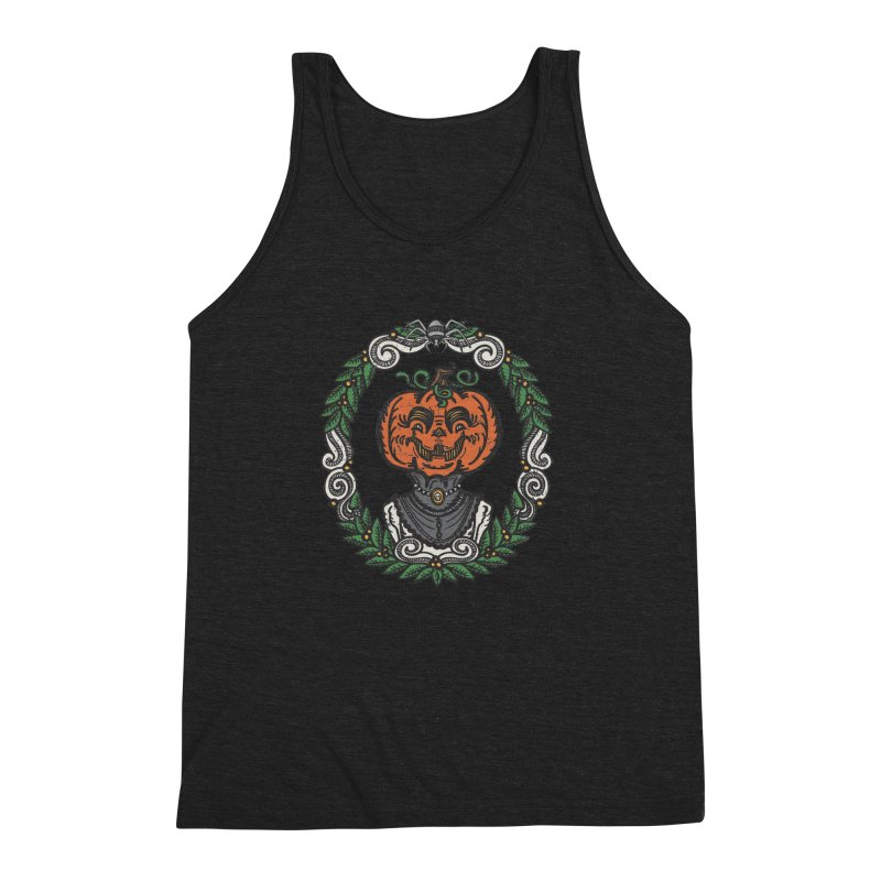 Pumpkin Lady Portrait | Full Color Men's Triblend Tank by Witch House Design