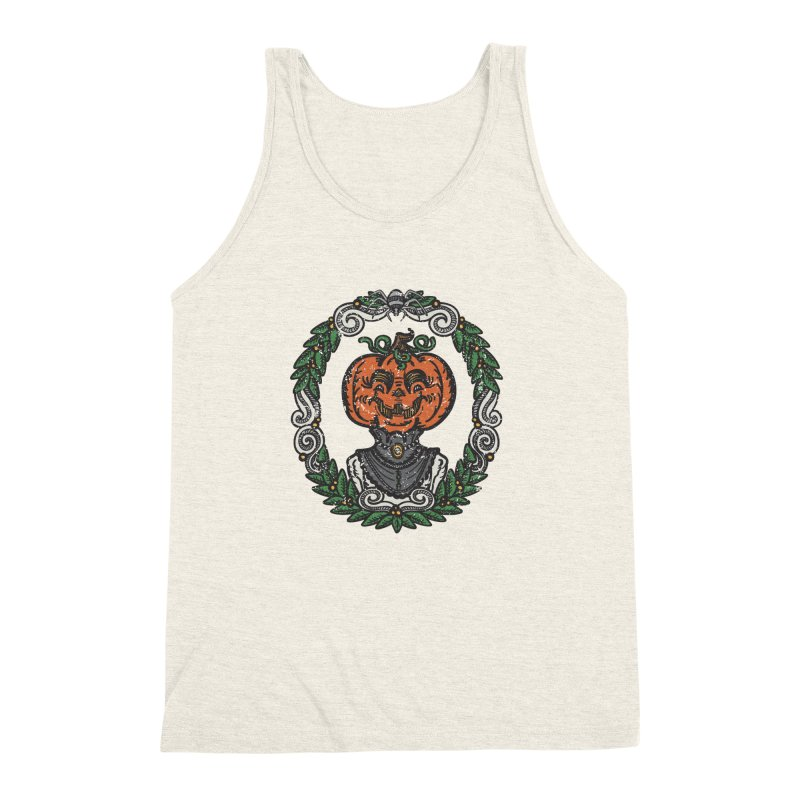 Pumpkin Lady Portrait   Full Color Men's Triblend Tank by Witch House Design