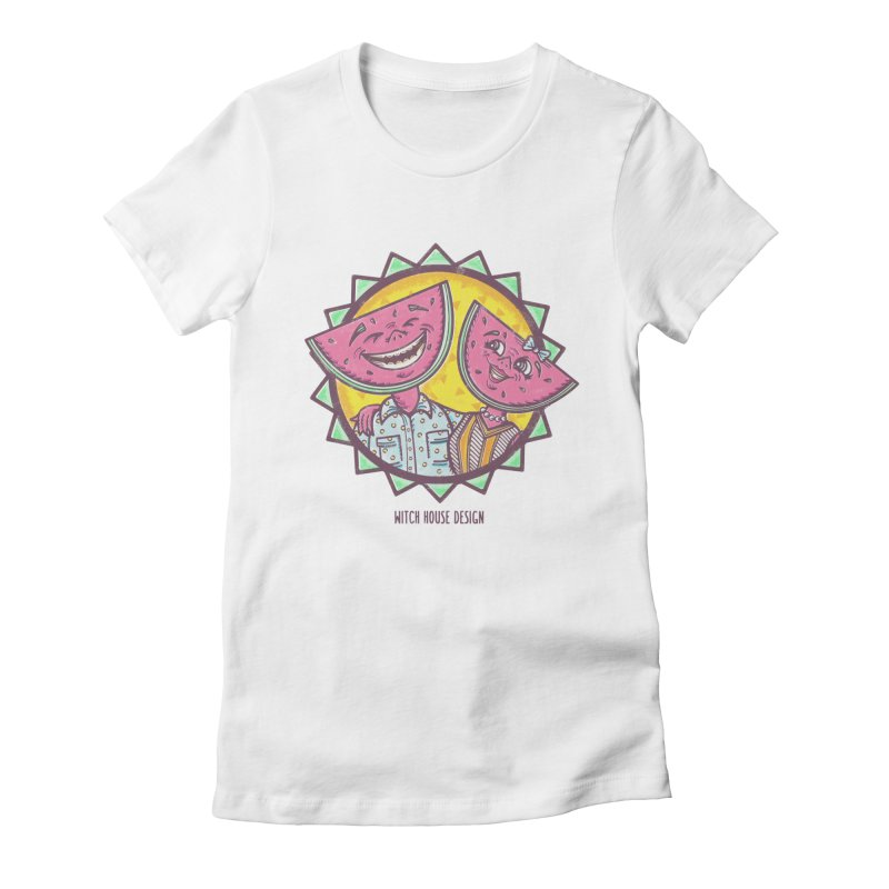 Cheerful Watermelons Women's Fitted T-Shirt by Witch House Design