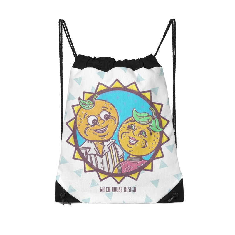 Sun-sational Oranges Accessories Drawstring Bag Bag by Witch House Design