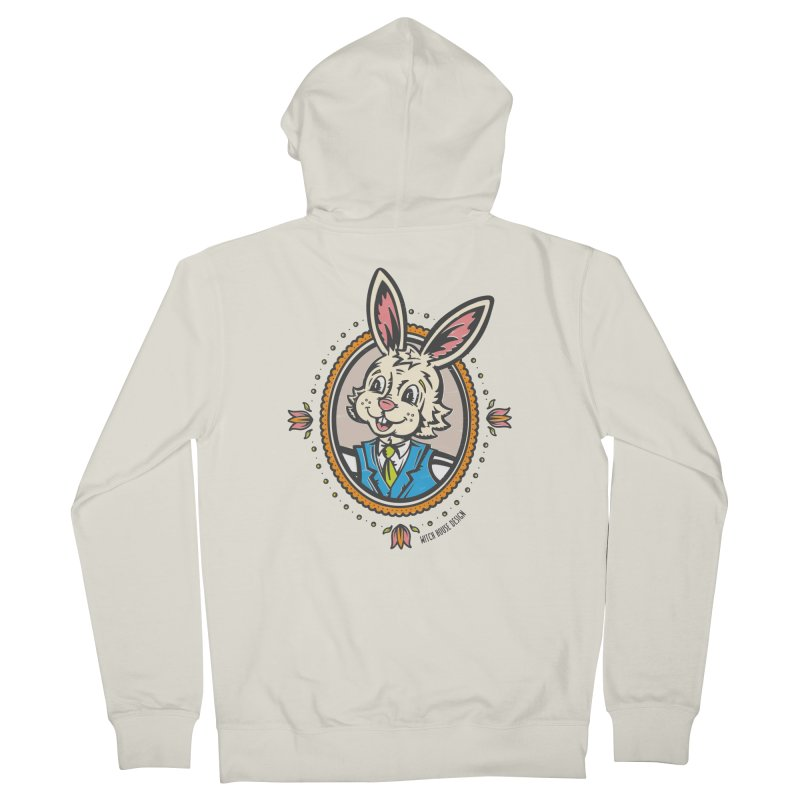 Mr. Rabbit Portrait Men's French Terry Zip-Up Hoody by Witch House Design