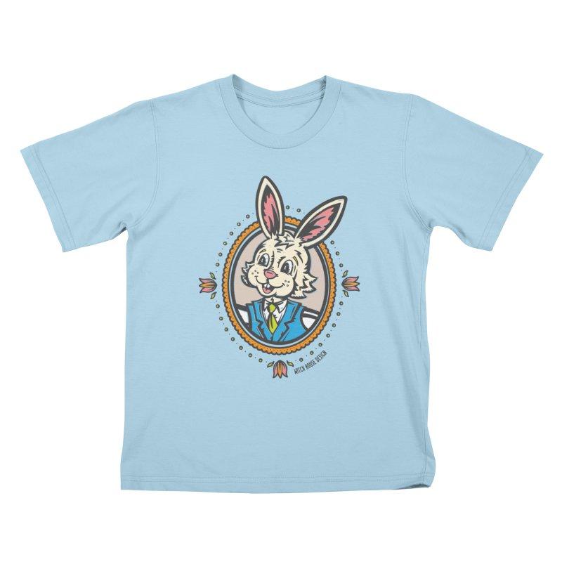 Mr. Rabbit Portrait Kids T-Shirt by Witch House Design