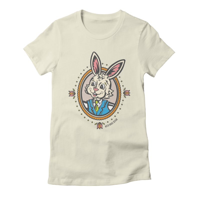 Mr. Rabbit Portrait Women's Fitted T-Shirt by Witch House Design