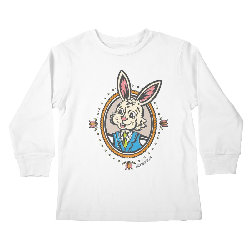 Mr. Rabbit Portrait Kids Longsleeve T-Shirt by Witch House Design
