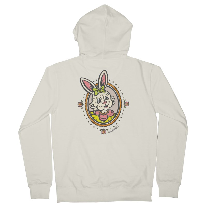 Ms. Rabbit Portrait Women's French Terry Zip-Up Hoody by Witch House Design