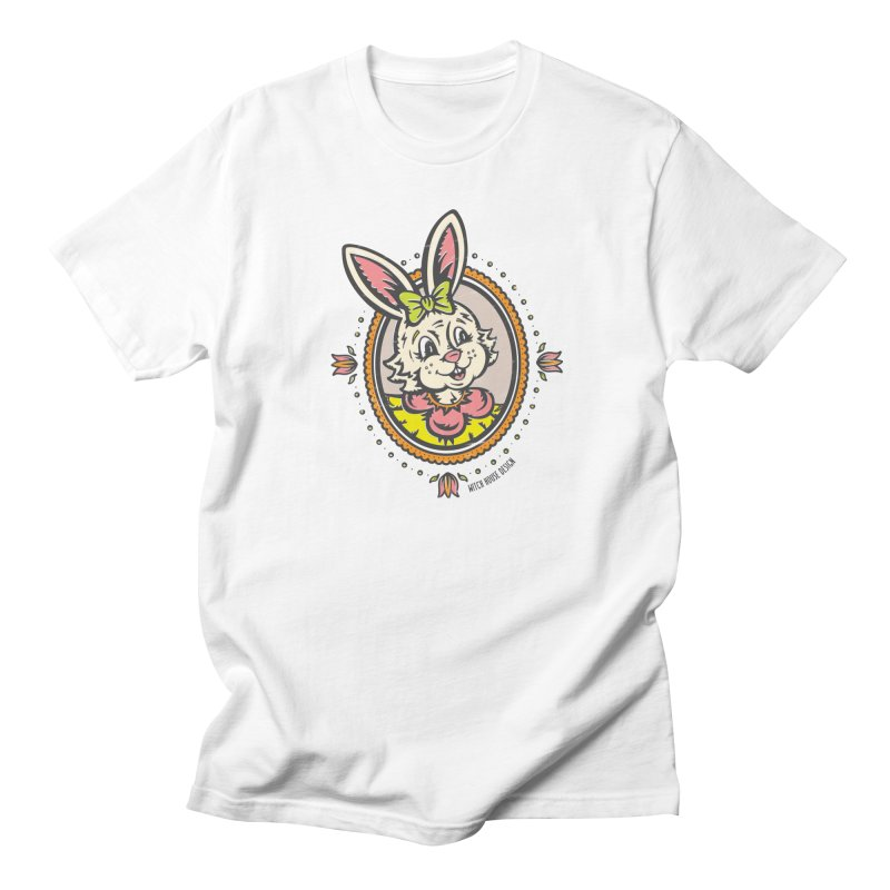 Ms. Rabbit Portrait Men's Regular T-Shirt by Witch House Design