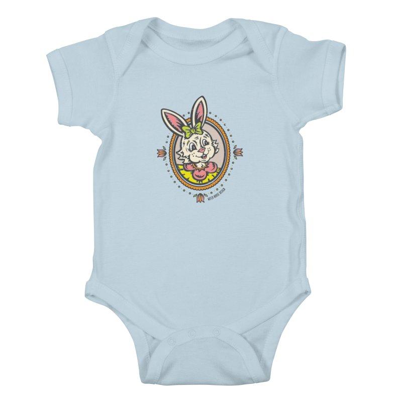 Ms. Rabbit Portrait Kids Baby Bodysuit by Witch House Design