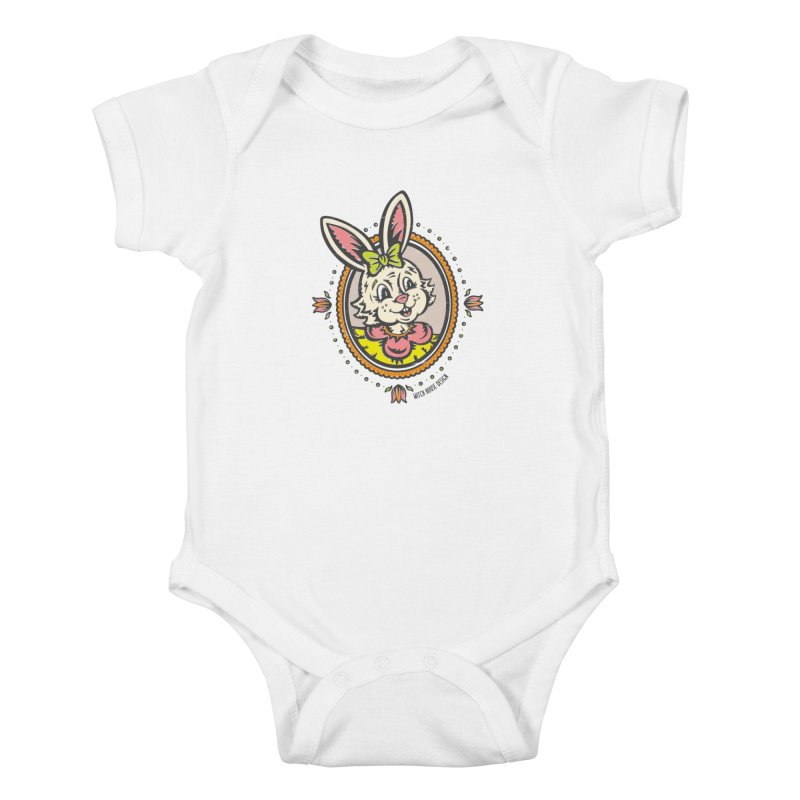 Ms. Rabbit Portrait Kids Baby Bodysuit by Witch House Design