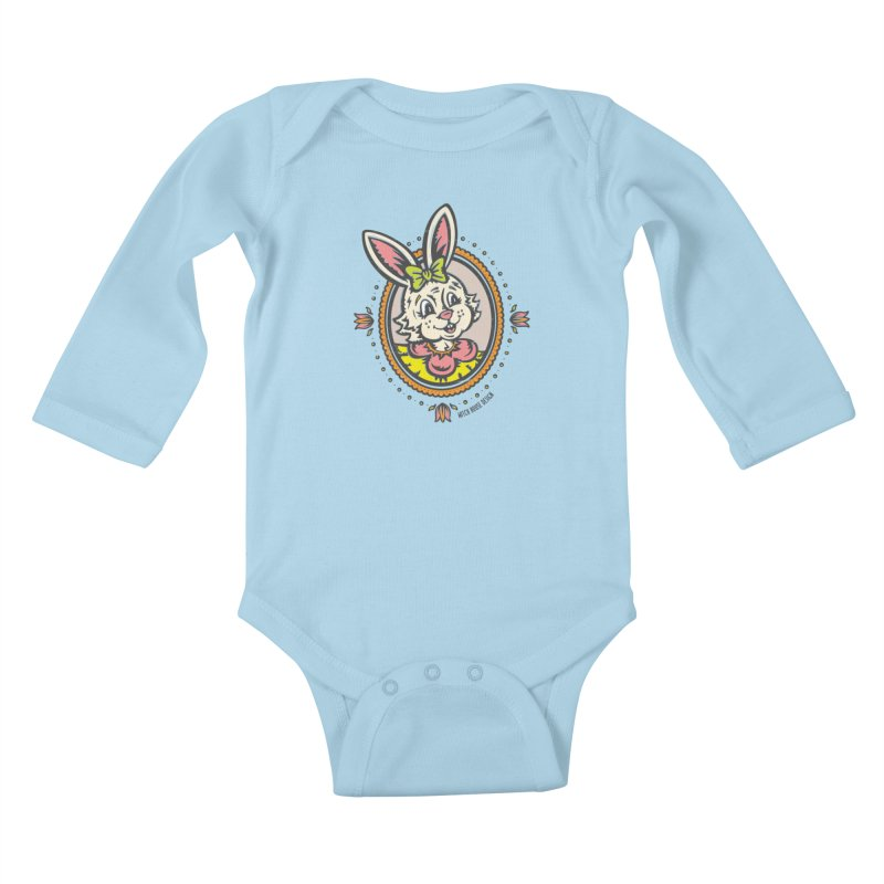 Ms. Rabbit Portrait Kids Baby Longsleeve Bodysuit by Witch House Design