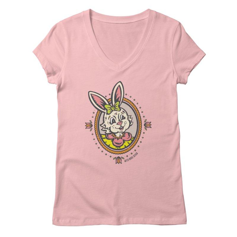 Ms. Rabbit Portrait Women's V-Neck by Witch House Design