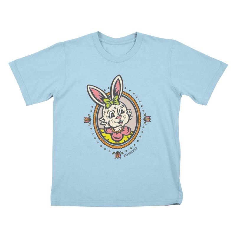 Ms. Rabbit Portrait Kids T-Shirt by Witch House Design