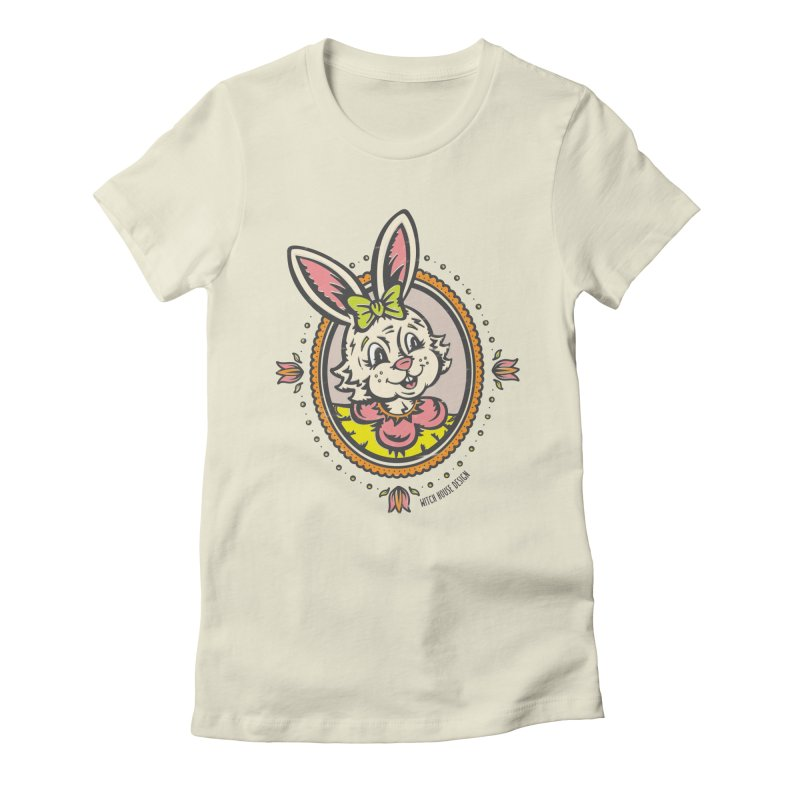 Ms. Rabbit Portrait Women's Fitted T-Shirt by Witch House Design