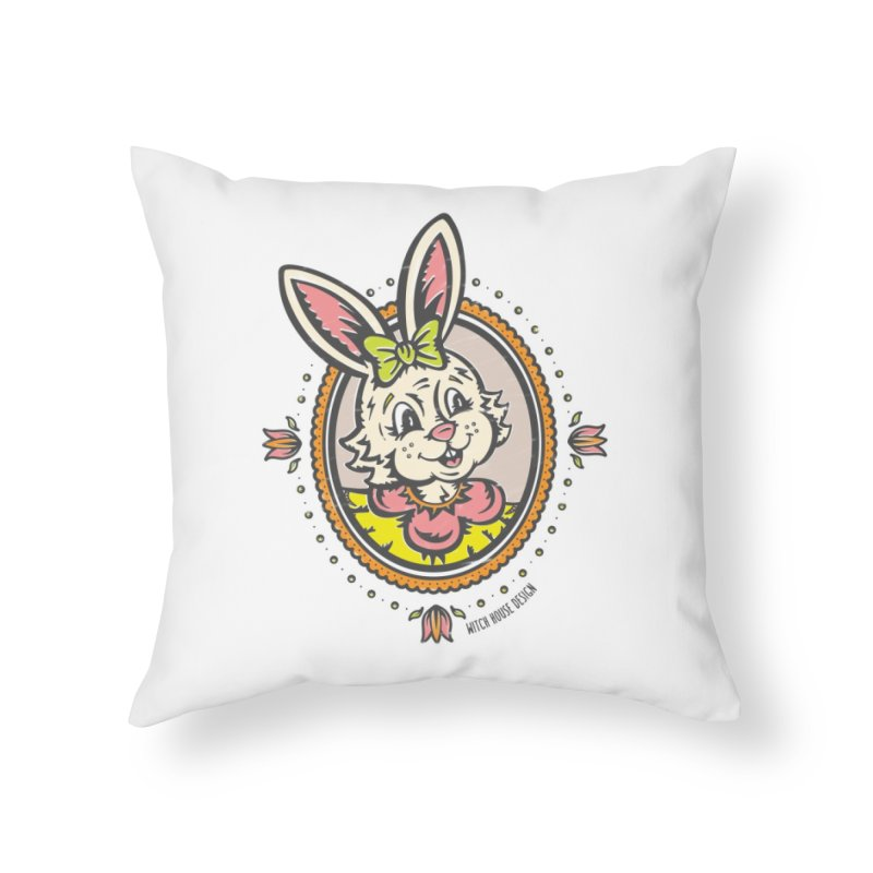 Ms. Rabbit Portrait Home Throw Pillow by Witch House Design