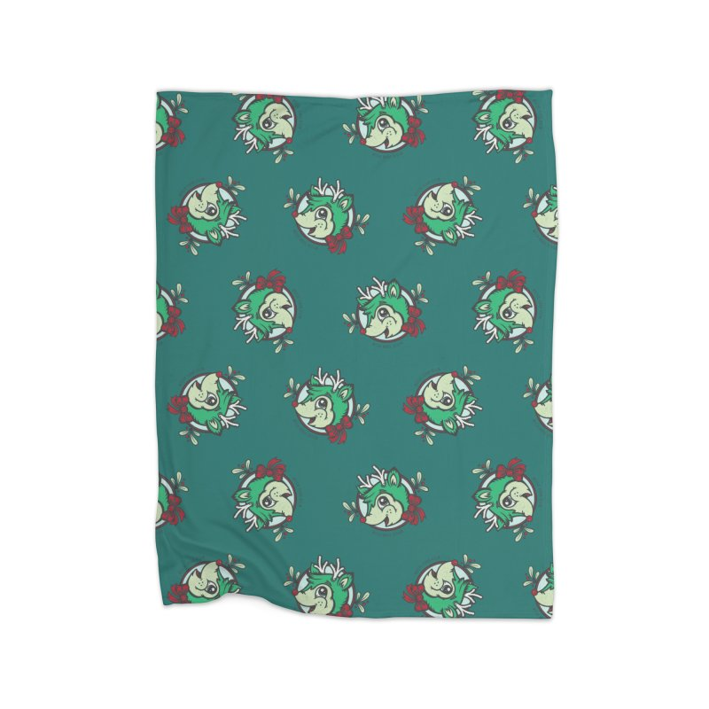 Happy Holi-Deer! Home Fleece Blanket Blanket by Witch House Design