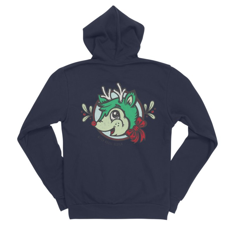 Happy Holi-Deer! Women's Sponge Fleece Zip-Up Hoody by Witch House Design