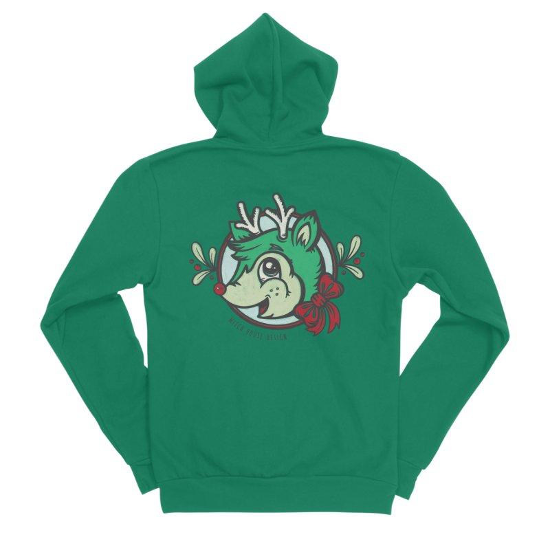 Happy Holi-Deer! Men's Sponge Fleece Zip-Up Hoody by Witch House Design