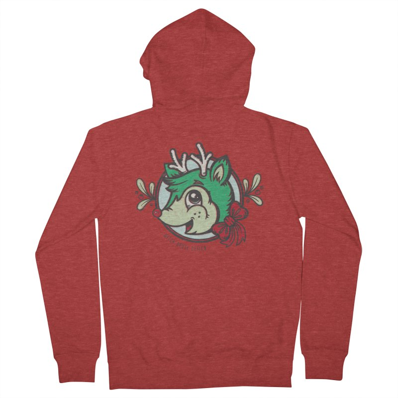 Happy Holi-Deer! Men's French Terry Zip-Up Hoody by Witch House Design