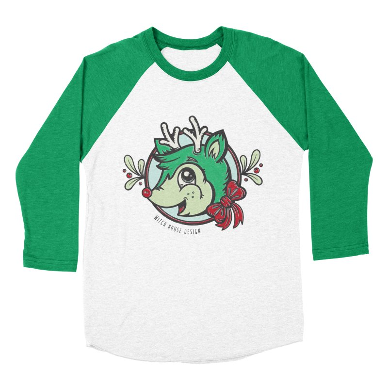 Happy Holi-Deer! Women's Baseball Triblend Longsleeve T-Shirt by Witch House Design