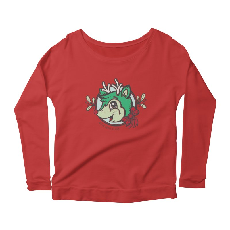 Happy Holi-Deer! Women's Scoop Neck Longsleeve T-Shirt by Witch House Design