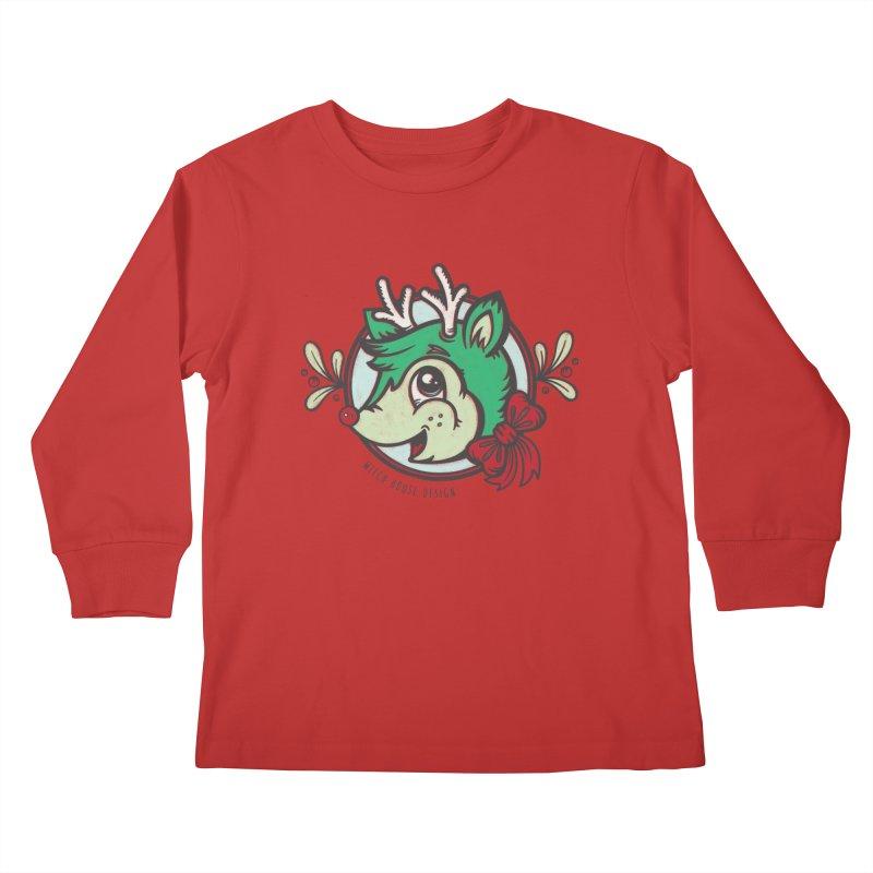 Happy Holi-Deer! Kids Longsleeve T-Shirt by Witch House Design