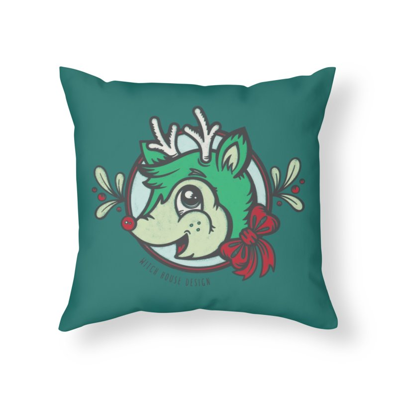 Happy Holi-Deer! Home Throw Pillow by Witch House Design