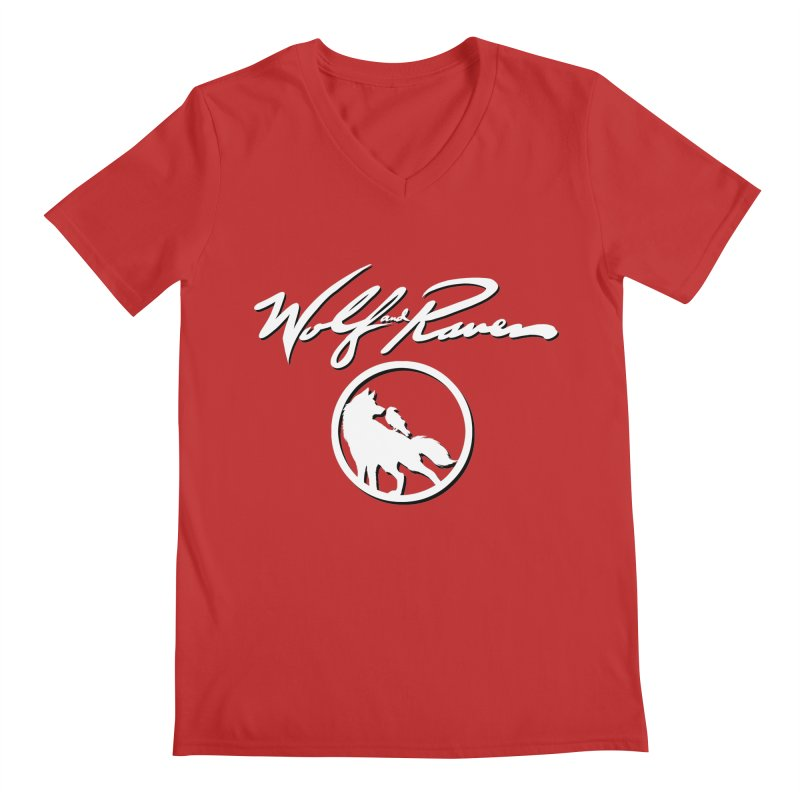 Wolf and Raven Cursive Men's V-Neck by Wolf and Raven Artist Shop