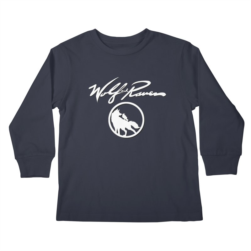 Wolf and Raven Cursive Kids Longsleeve T-Shirt by Wolf and Raven Artist Shop