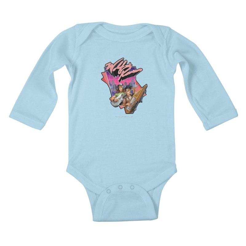 Wolf and Raven 80s Cartoon Kids Baby Longsleeve Bodysuit by Wolf and Raven Artist Shop