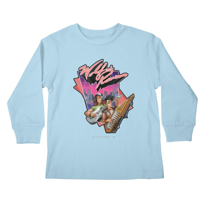 Wolf and Raven 80s Cartoon Kids Longsleeve T-Shirt by Wolf and Raven Artist Shop