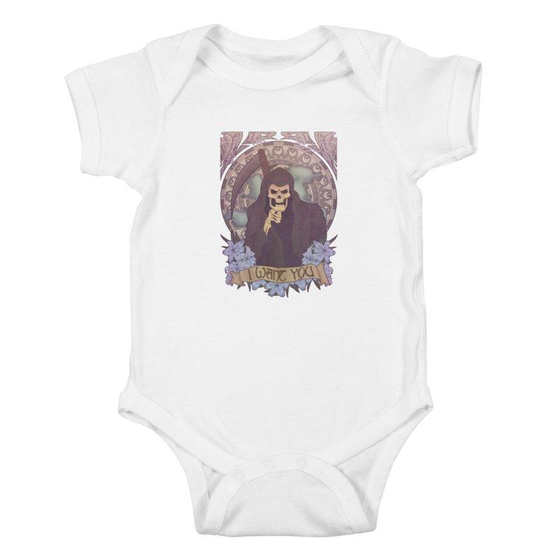 Death Nouveau Kids Baby Bodysuit by Wolf Bite Shop