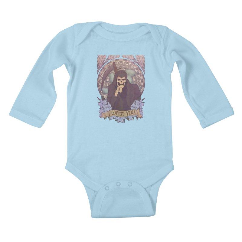 Death Nouveau Kids Baby Longsleeve Bodysuit by Wolf Bite Shop