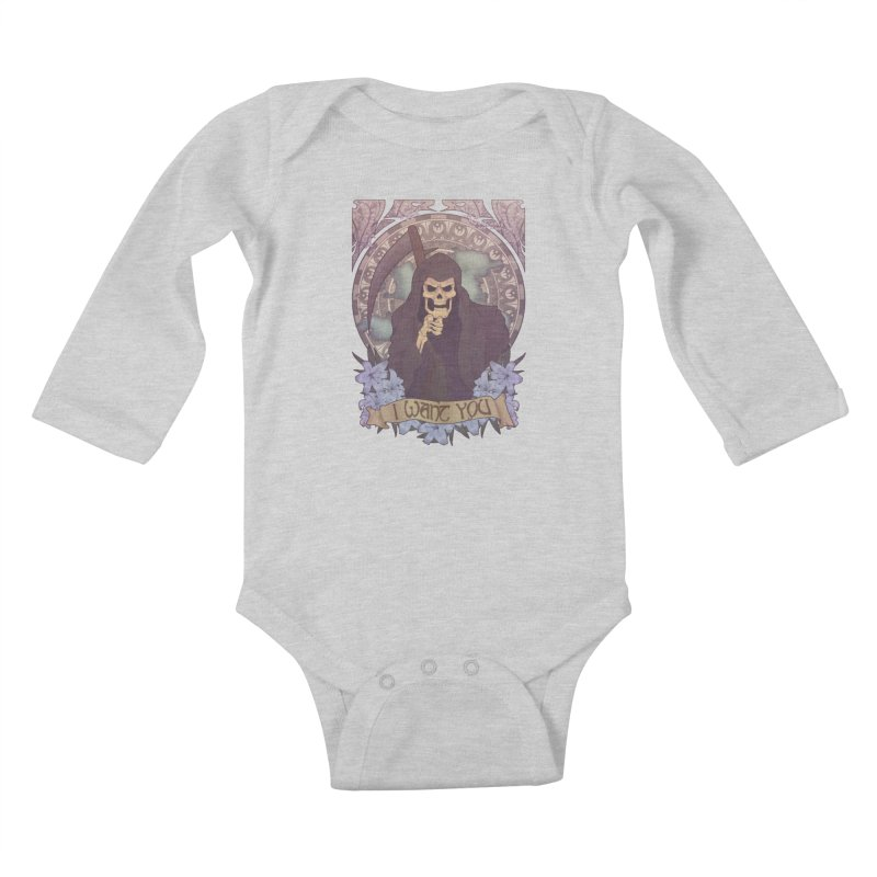 Death Nouveau Kids Baby Longsleeve Bodysuit by Wolf Bite Shop