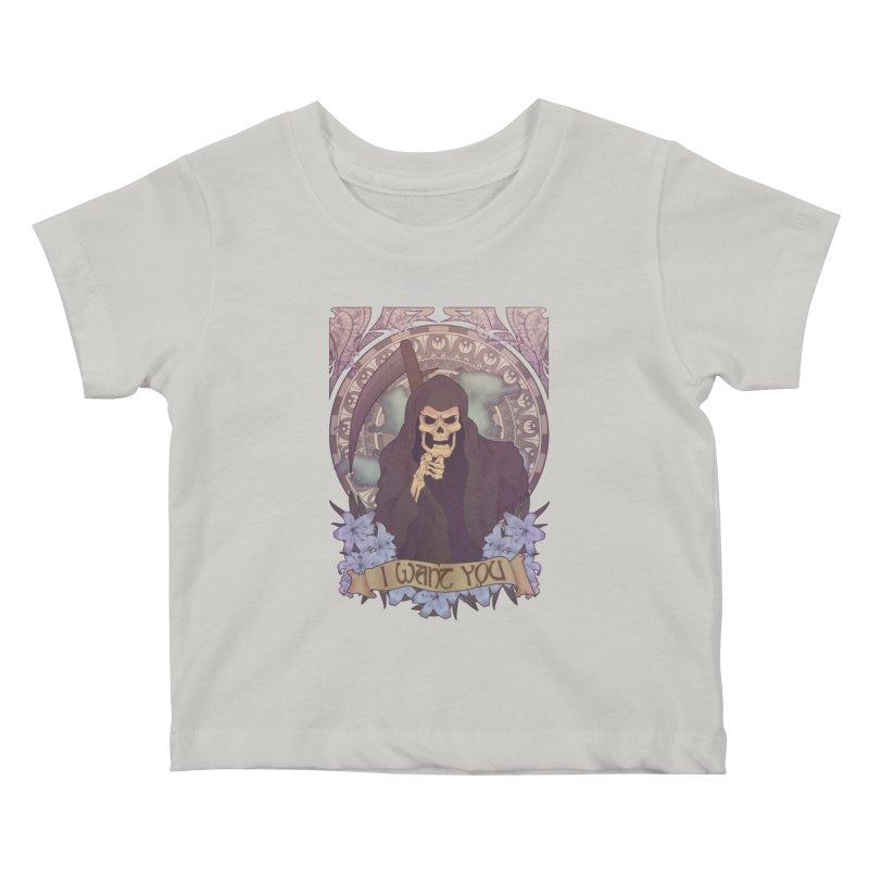 Death Nouveau Kids Baby T-Shirt by Wolf Bite Shop