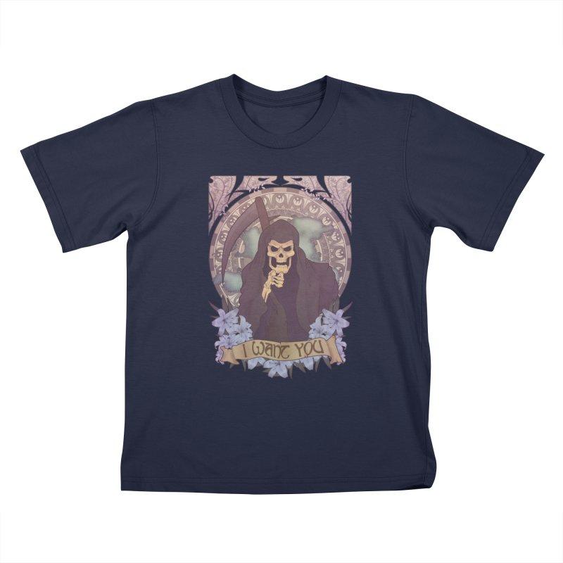 Death Nouveau Kids T-shirt by Wolf Bite Shop