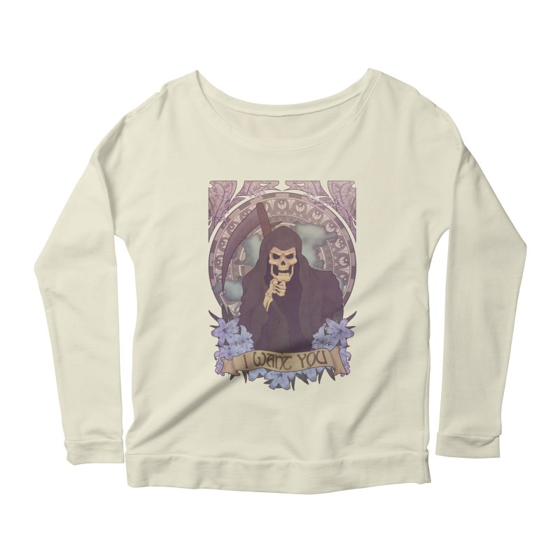 Death Nouveau Women's Longsleeve Scoopneck  by Wolf Bite Shop