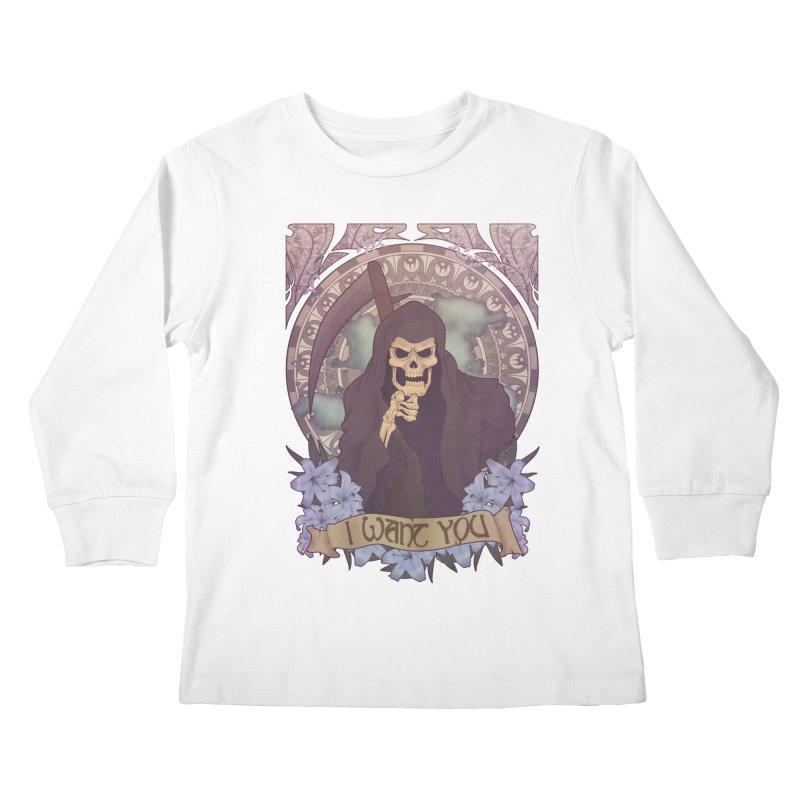 Death Nouveau Kids Longsleeve T-Shirt by Wolf Bite Shop