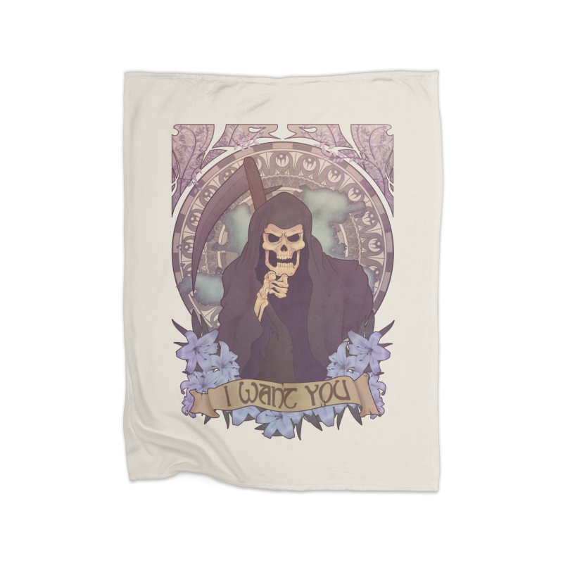 Death Nouveau Home Fleece Blanket Blanket by Wolf Bite Shop