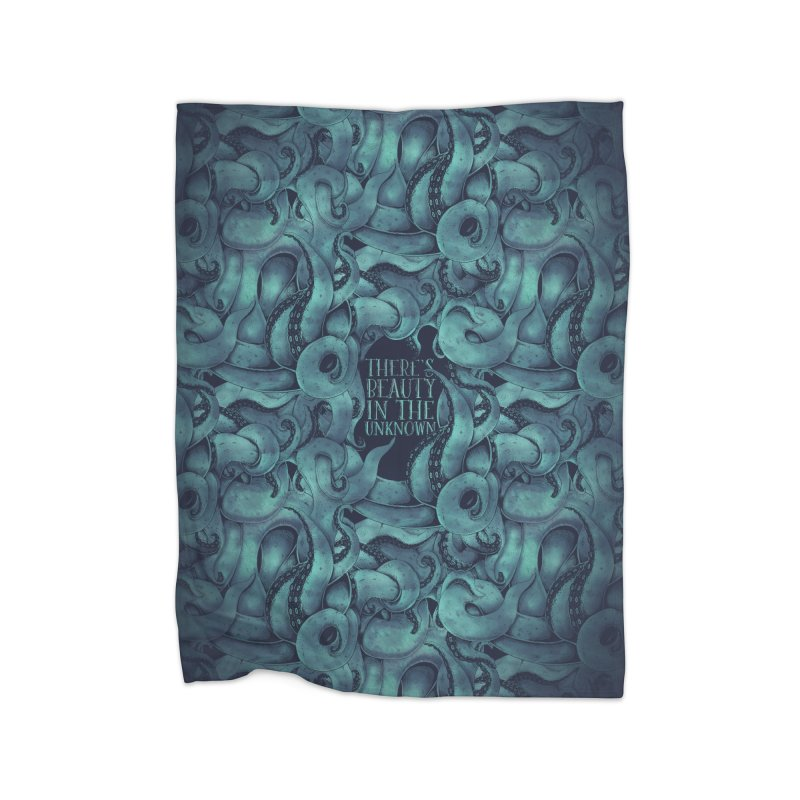 There's Beauty In The Unknown Home Fleece Blanket Blanket by Wolf Bite Shop